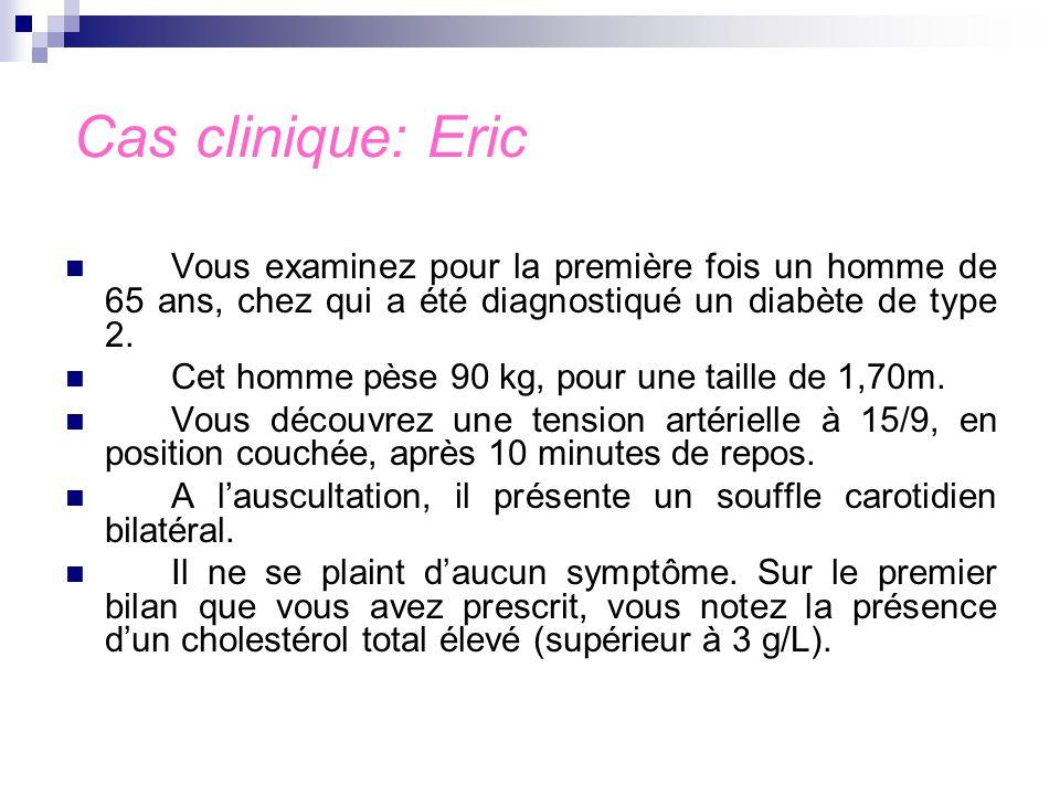 Cas clinique: Eric Vous examinez pour la première fois un homme de 65 ans, chez qui a été diagnostiqué un diabète de type 2.