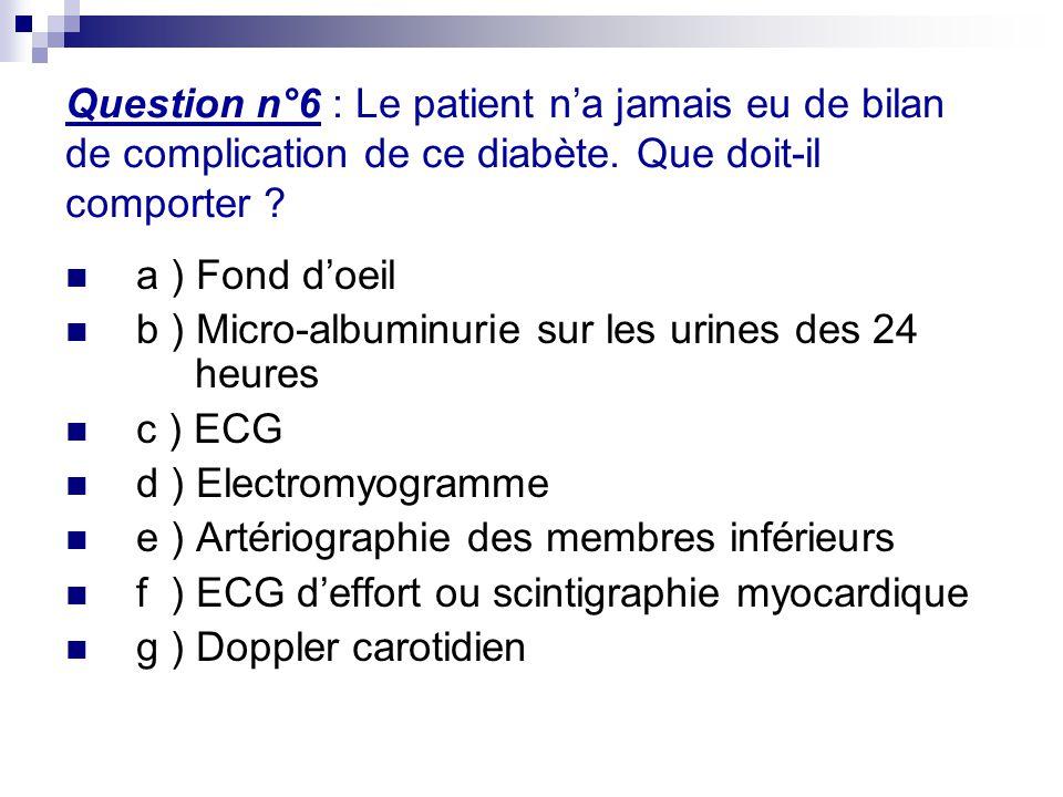 Question n°6 : Le patient n'a jamais eu de bilan de complication de ce diabète. Que doit-il comporter