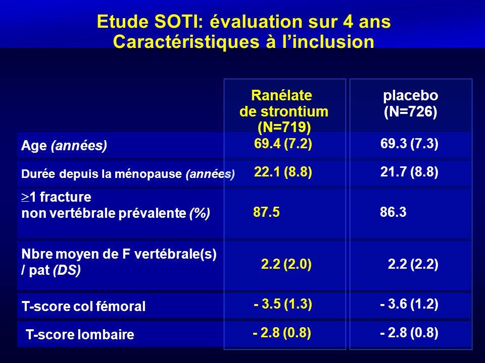 Etude SOTI: évaluation sur 4 ans Caractéristiques à l'inclusion