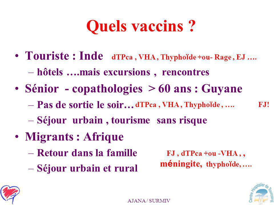 FJ , dTPca +ou -VHA , , méningite, thyphoïde, ….