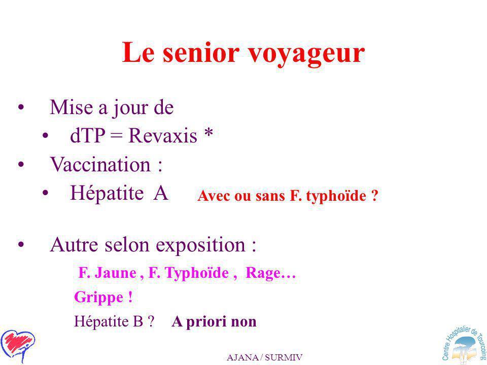 Le senior voyageur Mise a jour de dTP = Revaxis * Vaccination :