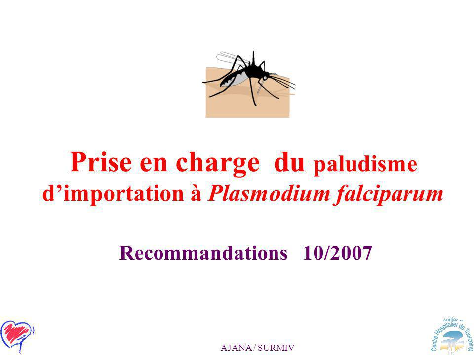 Prise en charge du paludisme d'importation à Plasmodium falciparum