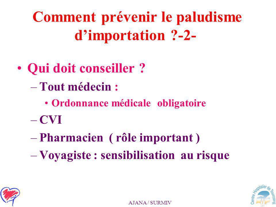 Comment prévenir le paludisme d'importation -2-