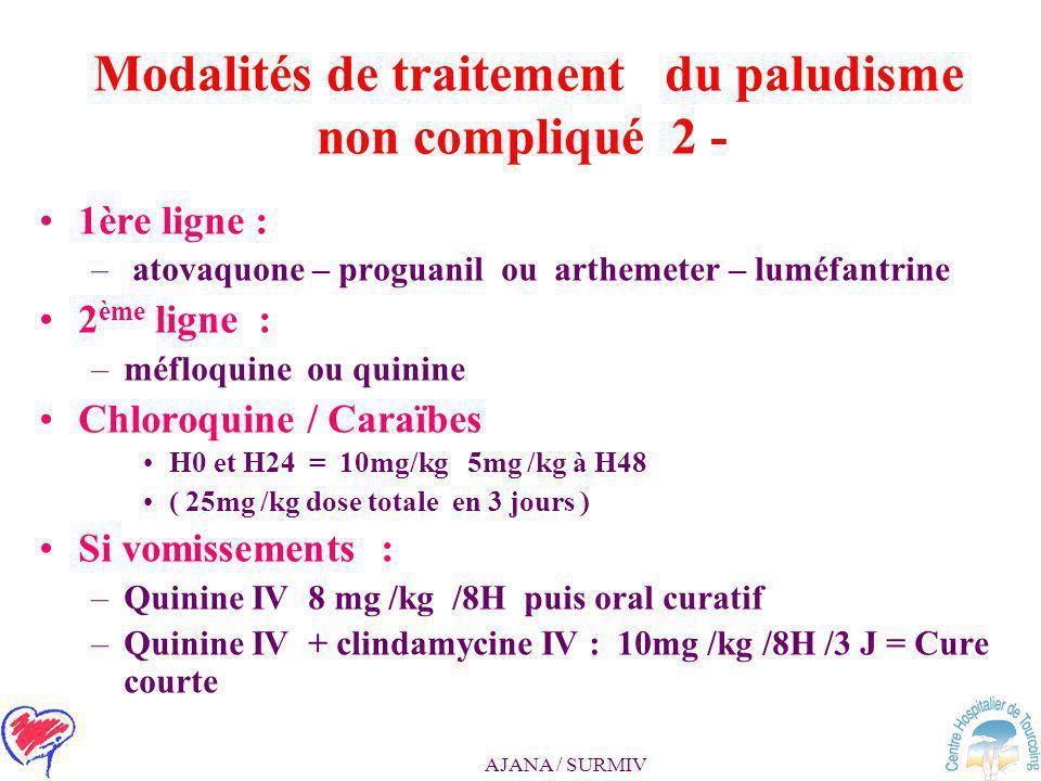 Modalités de traitement du paludisme non compliqué 2 -