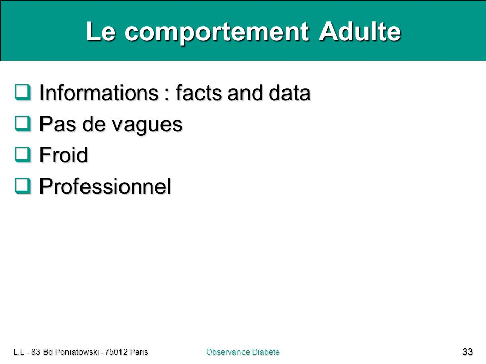 Le comportement Adulte