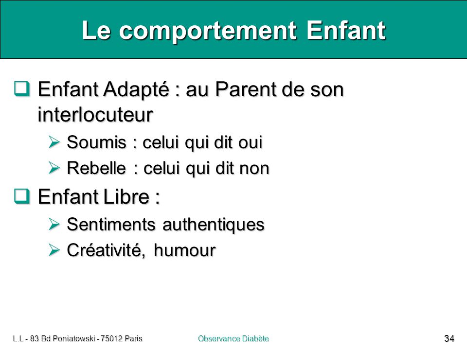 Le comportement Enfant