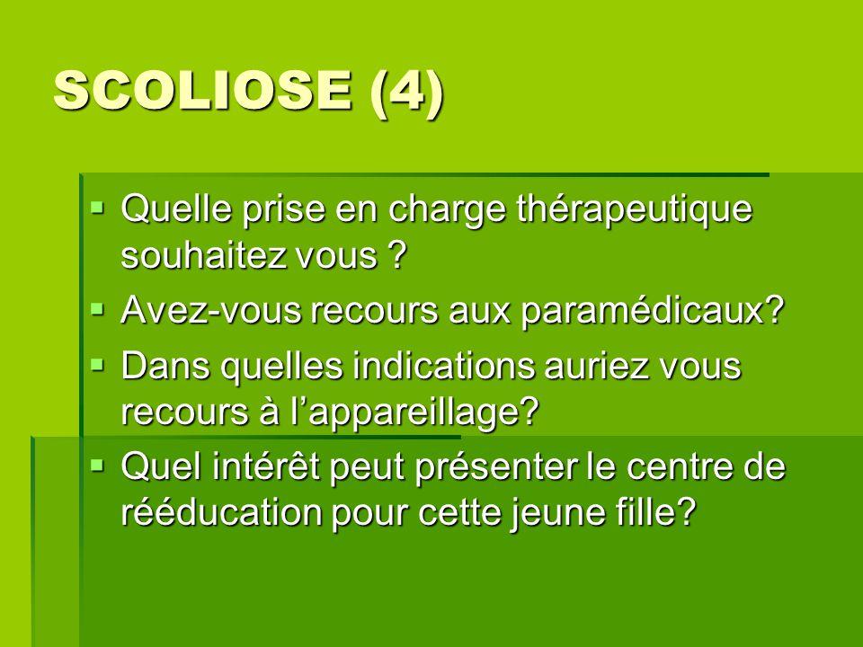 SCOLIOSE (4) Quelle prise en charge thérapeutique souhaitez vous