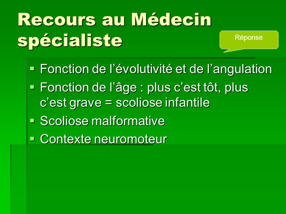 Recours au Médecin spécialiste