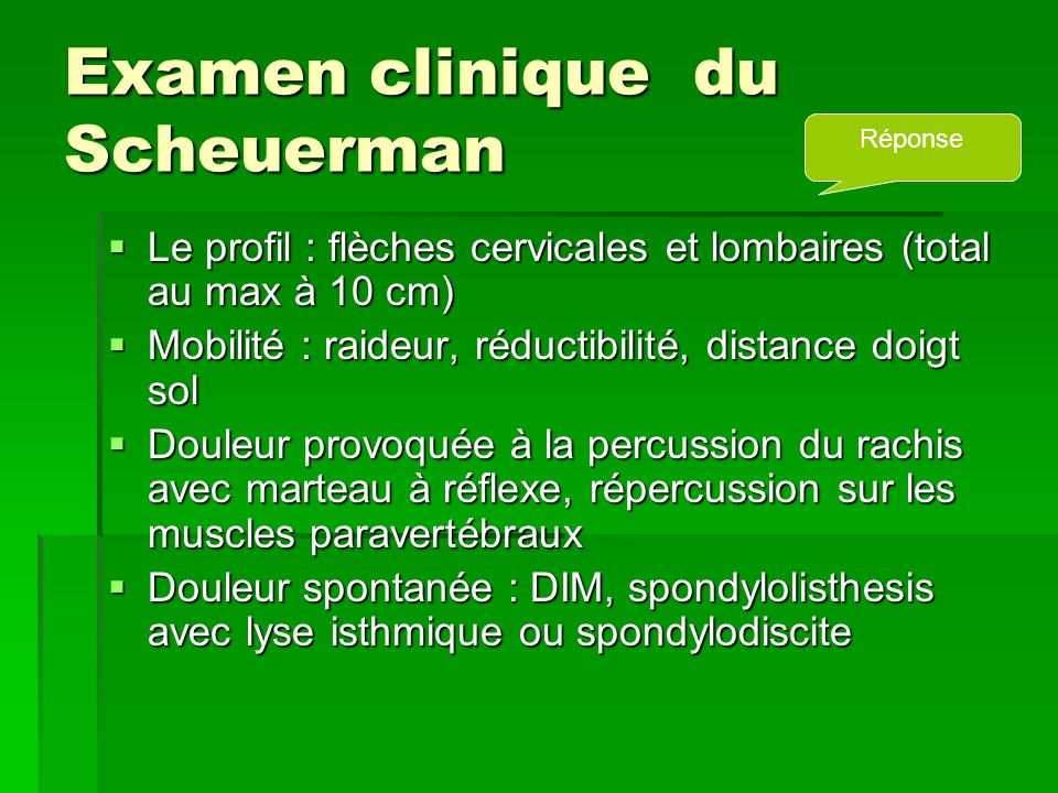 Examen clinique du Scheuerman