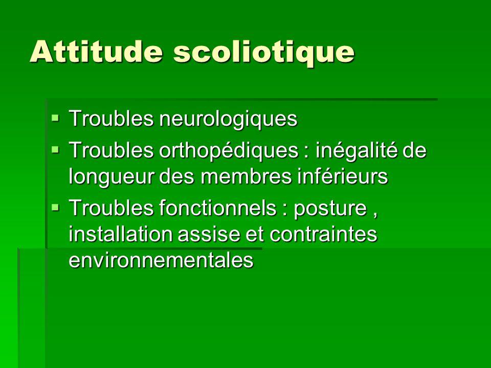 Attitude scoliotique Troubles neurologiques