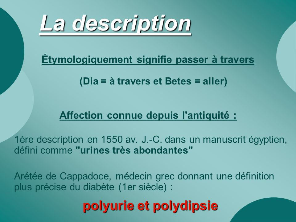 La description polyurie et polydipsie