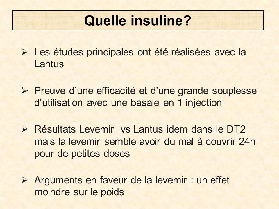 Quelle insuline Les études principales ont été réalisées avec la Lantus.