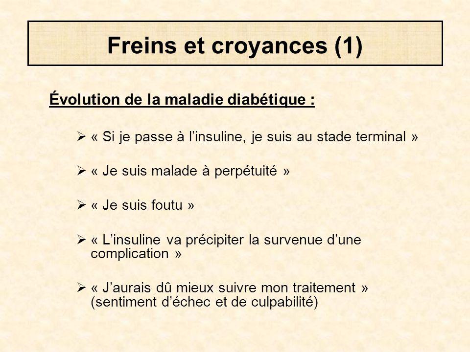 Freins et croyances (1) Évolution de la maladie diabétique :