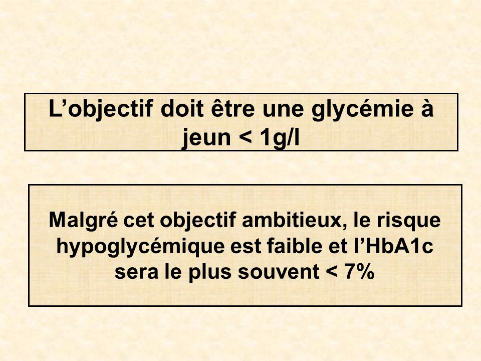 L'objectif doit être une glycémie à jeun < 1g/l