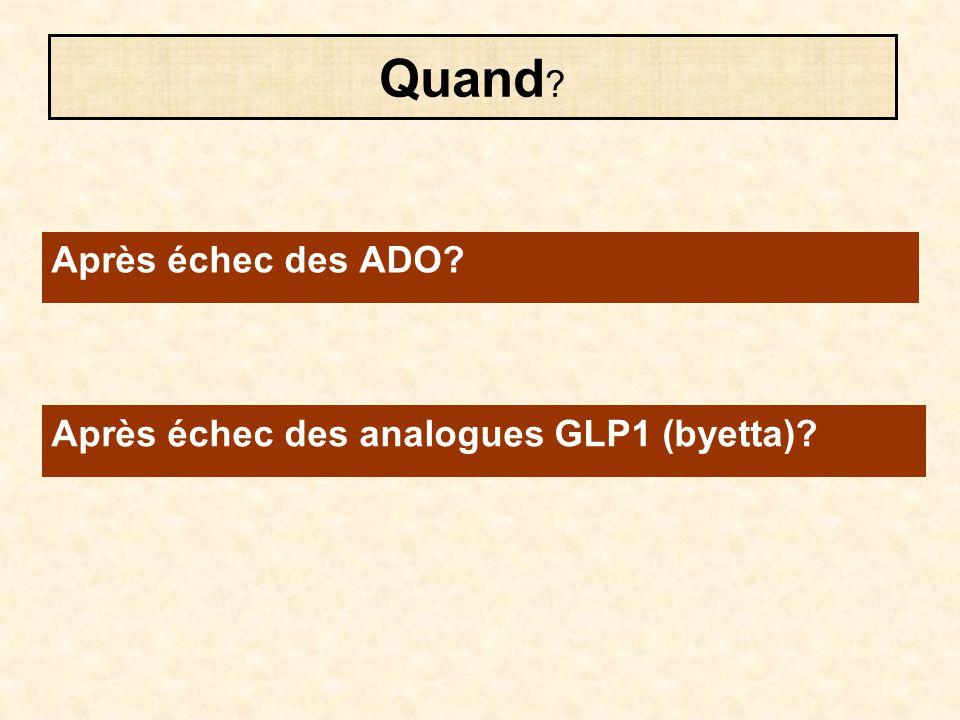Quand Après échec des ADO Après échec des analogues GLP1 (byetta)