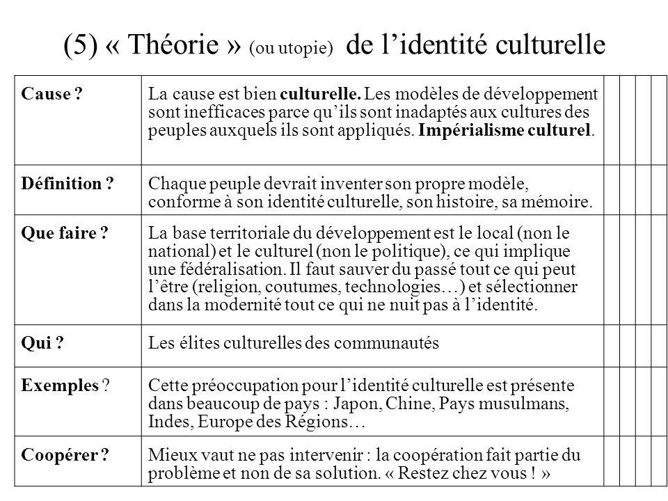 (5) « Théorie » (ou utopie) de l'identité culturelle
