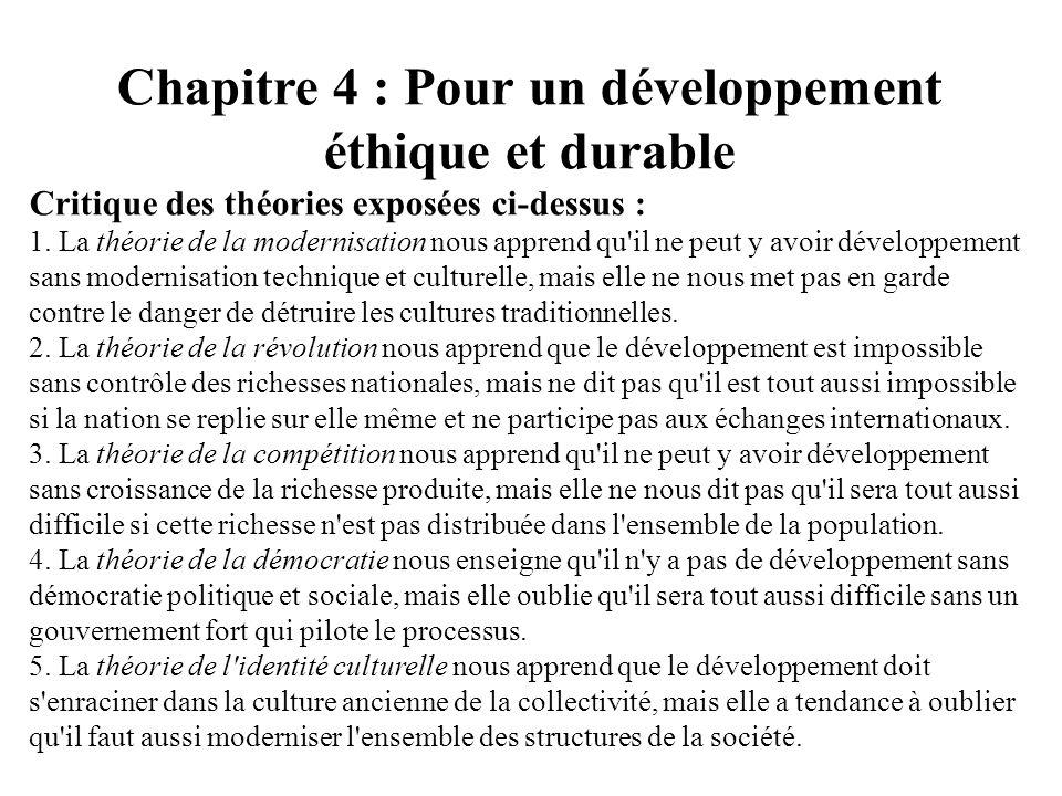 Chapitre 4 : Pour un développement éthique et durable