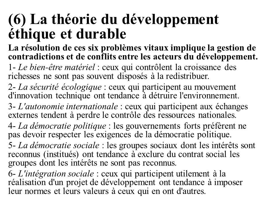 (6) La théorie du développement éthique et durable