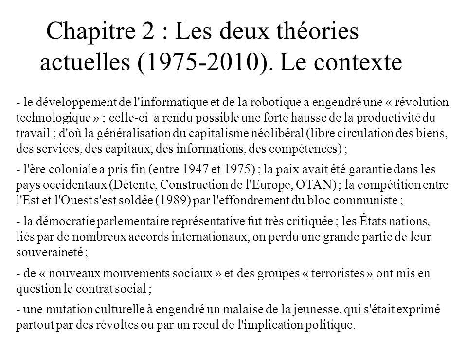 Chapitre 2 : Les deux théories actuelles (1975-2010). Le contexte