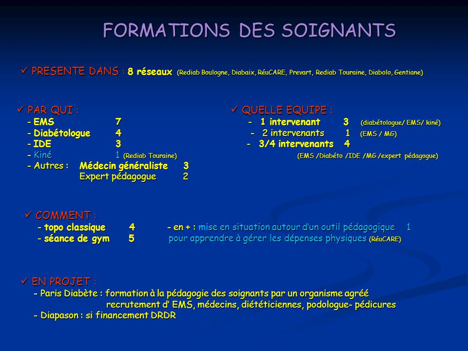 FORMATIONS DES SOIGNANTS