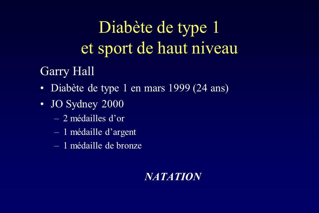 Diabète de type 1 et sport de haut niveau