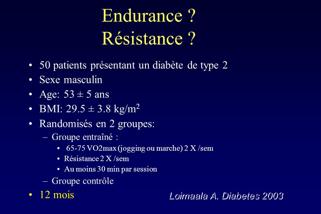 Endurance Résistance 50 patients présentant un diabète de type 2