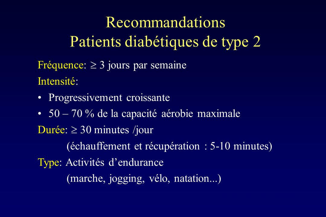 Recommandations Patients diabétiques de type 2