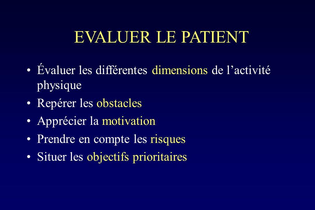 EVALUER LE PATIENT Évaluer les différentes dimensions de l'activité physique. Repérer les obstacles.