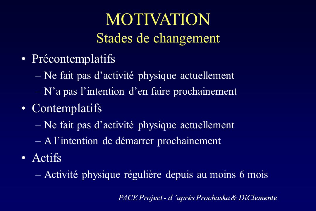 MOTIVATION Stades de changement