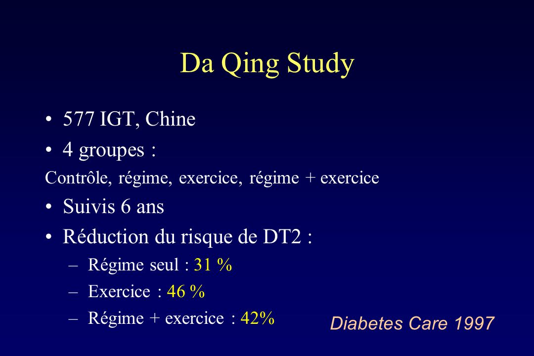 Da Qing Study 577 IGT, Chine 4 groupes : Suivis 6 ans