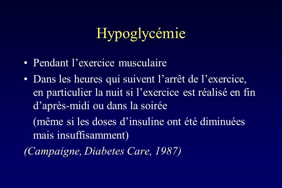 Hypoglycémie Pendant l'exercice musculaire