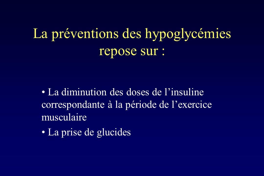 La préventions des hypoglycémies repose sur :