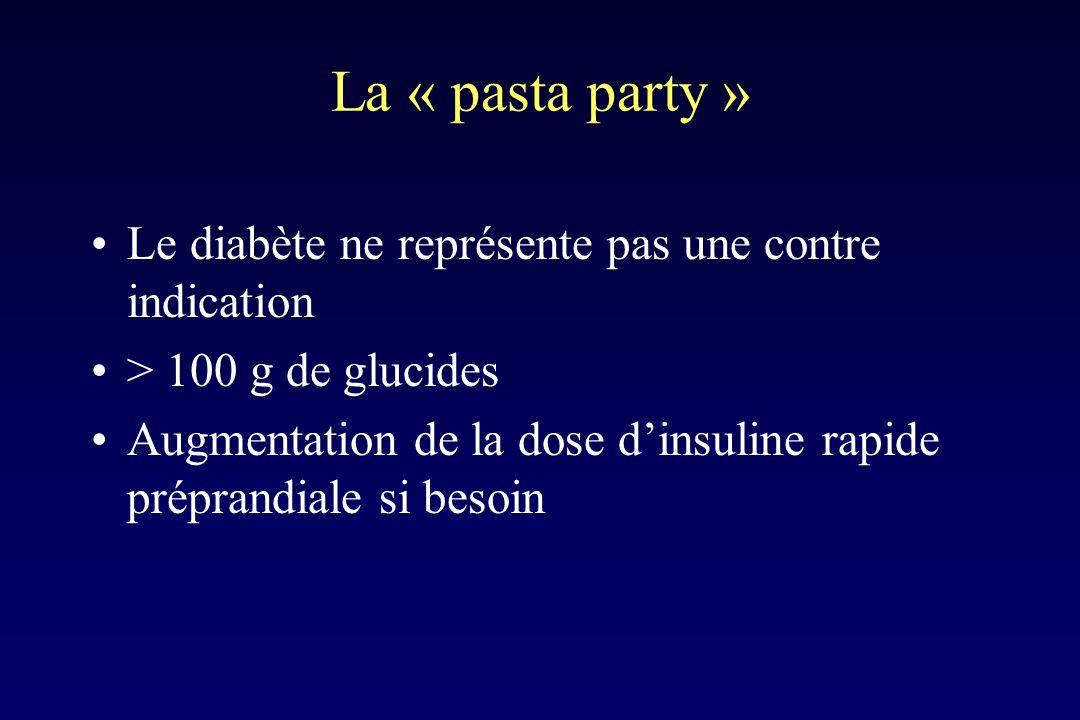 La « pasta party » Le diabète ne représente pas une contre indication