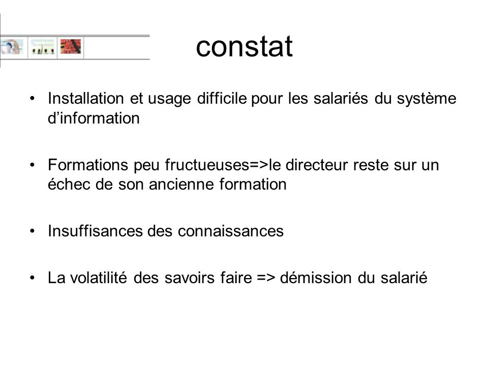 constat Installation et usage difficile pour les salariés du système d'information.