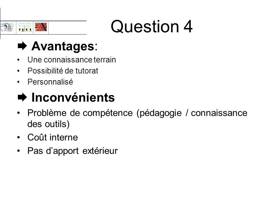 Question 4  Avantages:  Inconvénients
