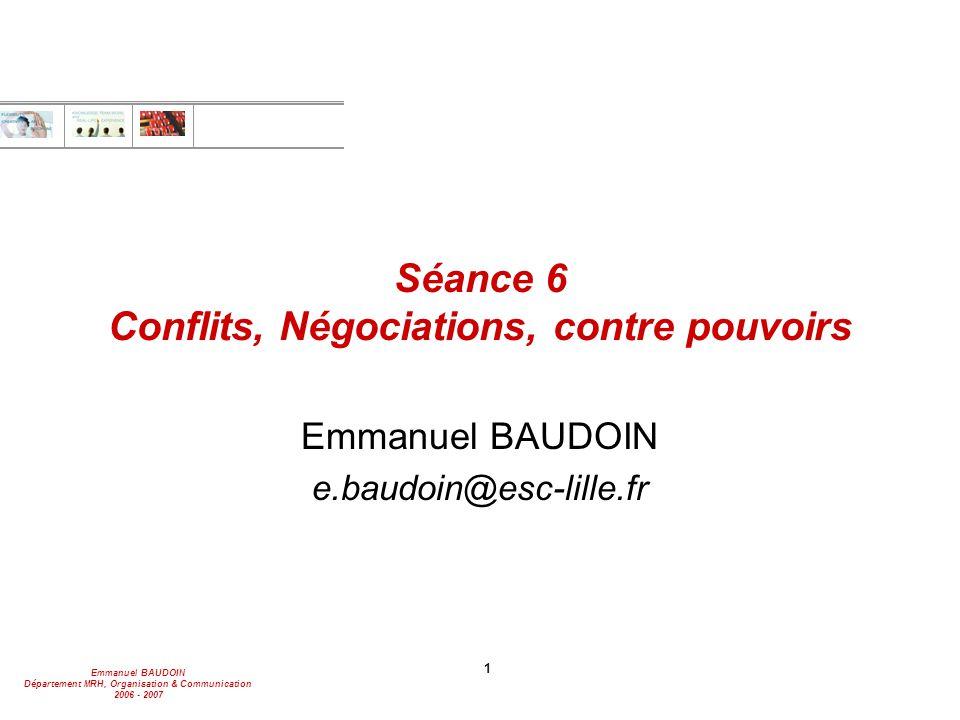 Séance 6 Conflits, Négociations, contre pouvoirs