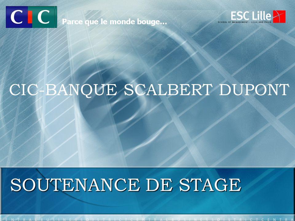 SOUTENANCE DE STAGE CIC-BANQUE SCALBERT DUPONT