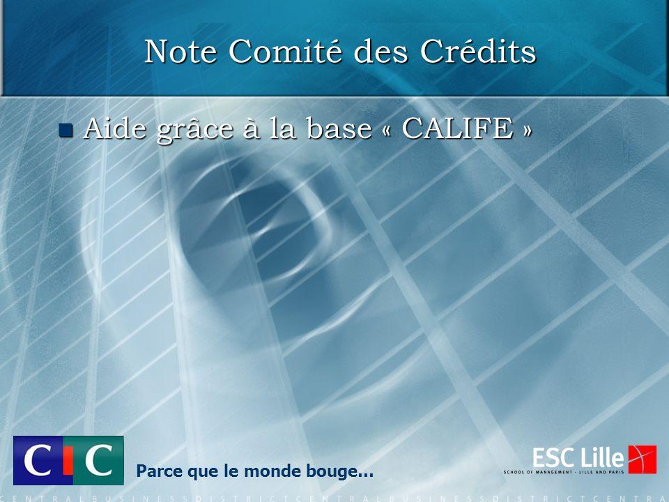 Note Comité des Crédits