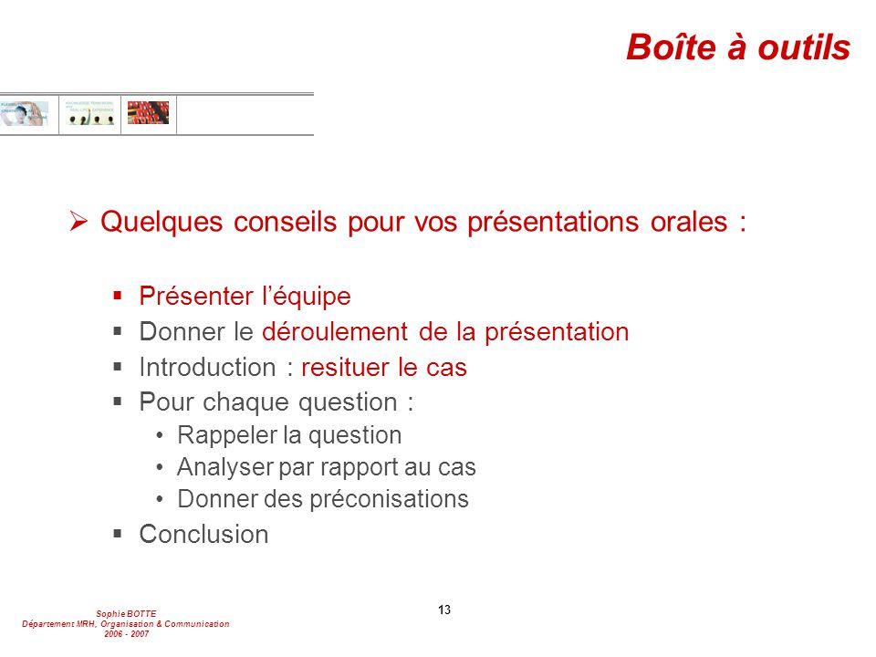 Boîte à outils Quelques conseils pour vos présentations orales :