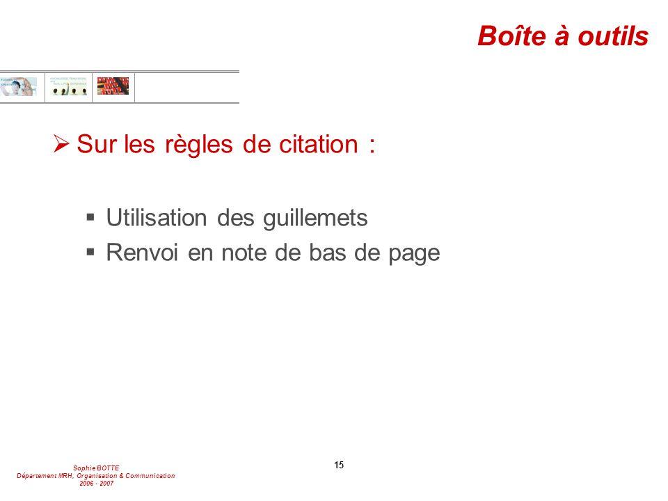 Boîte à outils Sur les règles de citation : Utilisation des guillemets