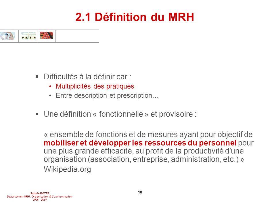 2.1 Définition du MRH Difficultés à la définir car :
