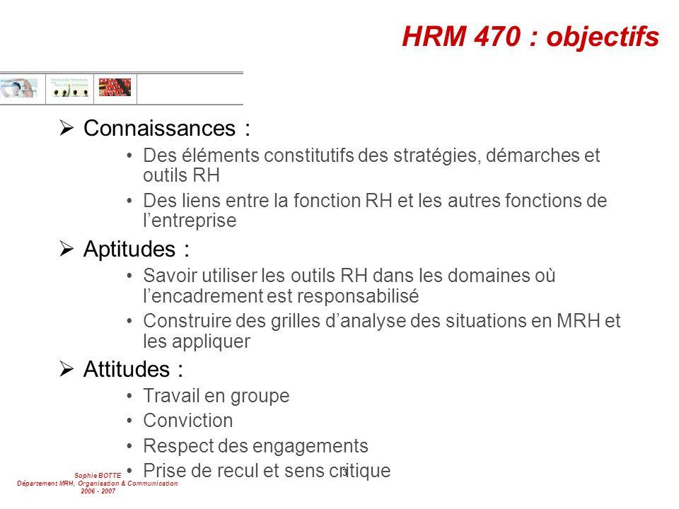 HRM 470 : objectifs Connaissances : Aptitudes : Attitudes :