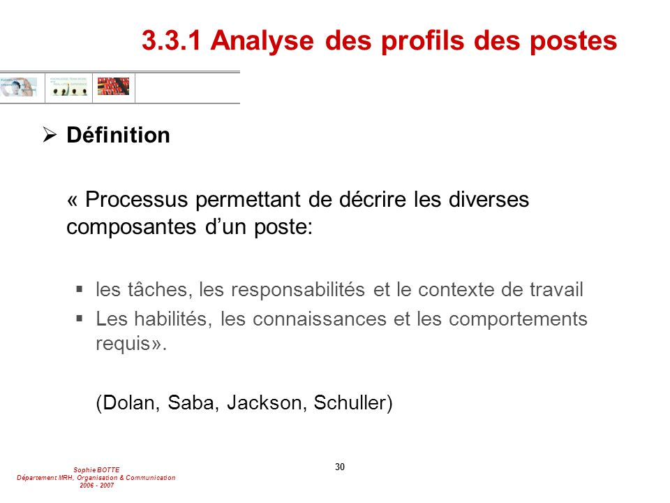 3.3.1 Analyse des profils des postes