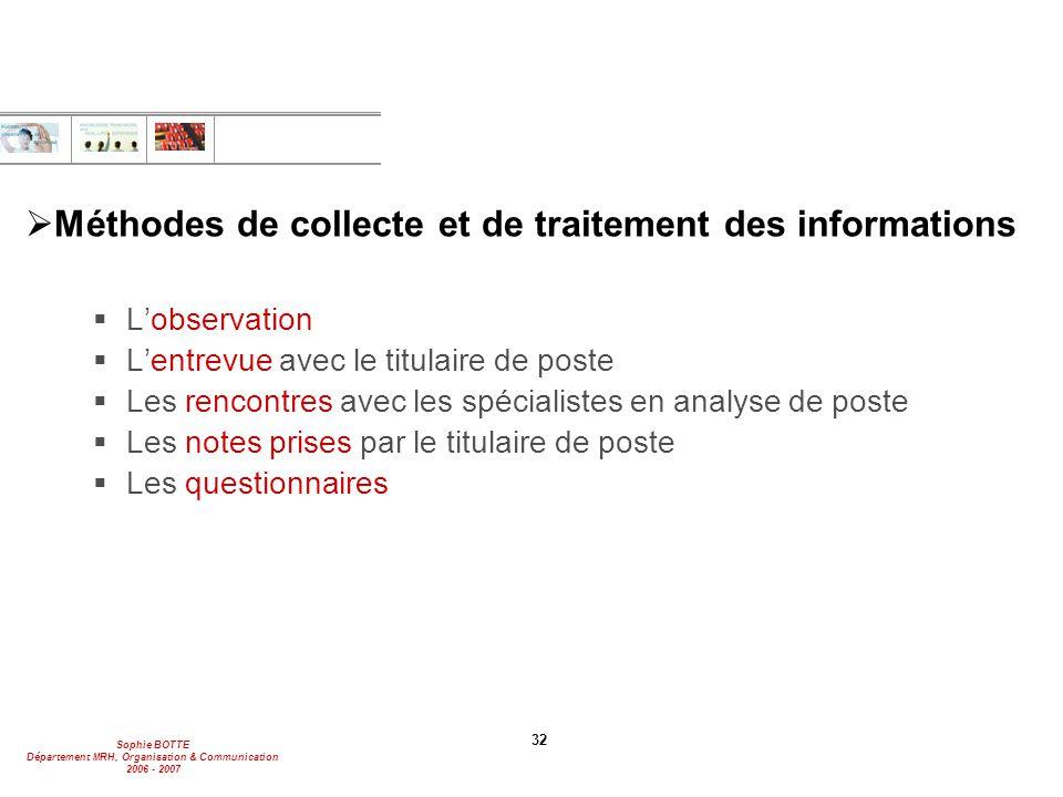 Méthodes de collecte et de traitement des informations