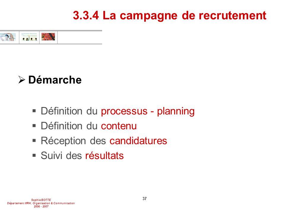 3.3.4 La campagne de recrutement