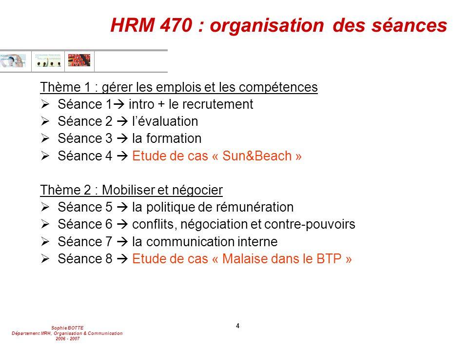 HRM 470 : organisation des séances