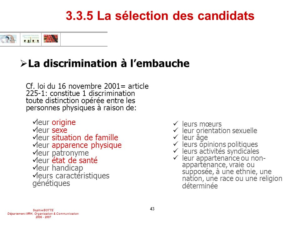 La discrimination à l'embauche