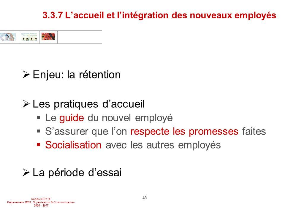 3.3.7 L'accueil et l'intégration des nouveaux employés