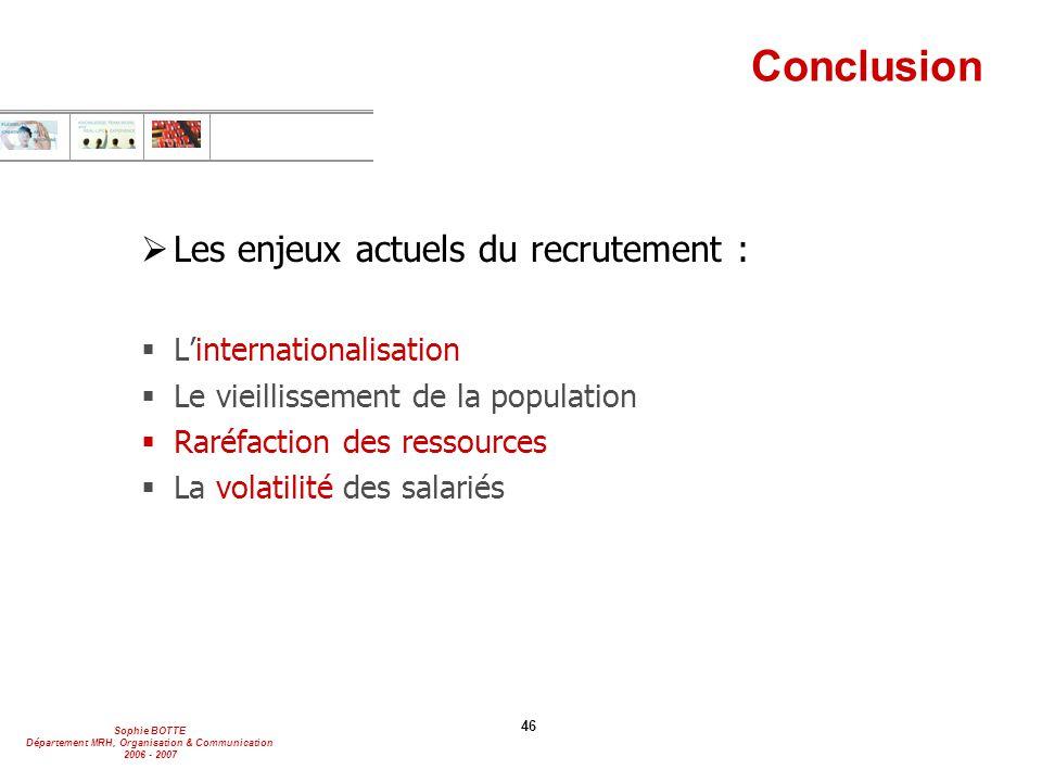 Conclusion Les enjeux actuels du recrutement : L'internationalisation