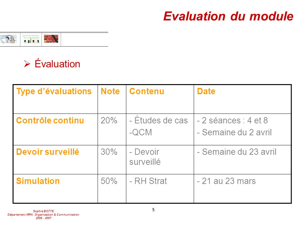 Evaluation du module Évaluation Type d'évaluations Note Contenu Date